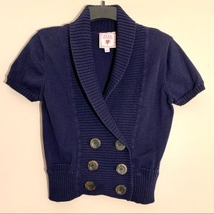 Navy Double Breasted Short Sleeve Sweater